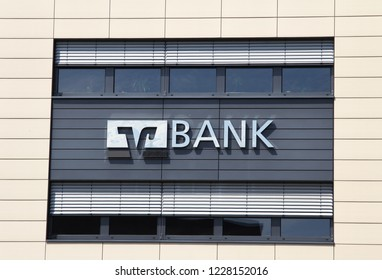 Erlenbach am Main, GERMANY, APR 29, 2018: Volksbank branch. Sign with the logo of the german credit union Volksbank - Raiffeisenbank.