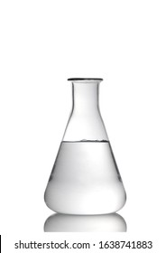 Erlenmeyer flask glassware with water and reflection isolated on white background
