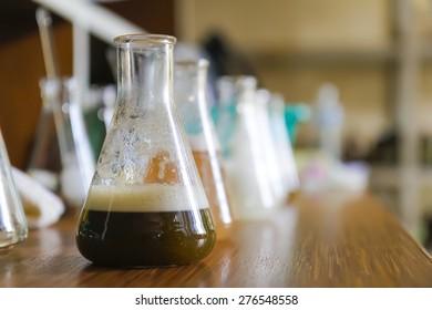 Erlenmeyer flask half-filled