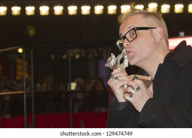 ERLIN, GERMANY - FEBRUARY 16: Denis Cote holds the Silver Bear for the Alfred Bauer award at the Closing Ceremony At The 63rd Berlinale Festival at Palast on February 16, 2013 in Berlin, Germany.