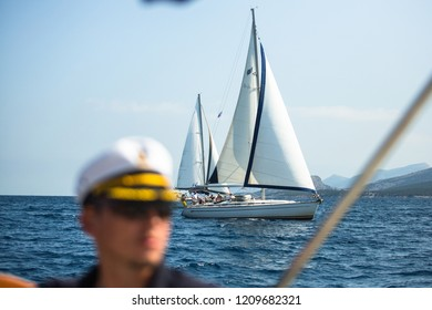 ERMIONI, GREECE - OCT 8, 2018: Sailors participate in sailing regatta 20th Ellada Autumn 2018 among Greek island group in the Aegean Sea, in Cyclades and Saronic Gulf.
