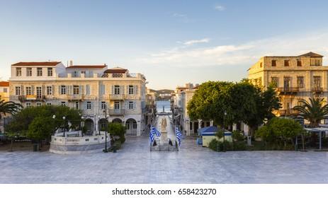 Ermoupoli, Greece - May 15, 2017: Ermoupoli town on Syros island in Greece.