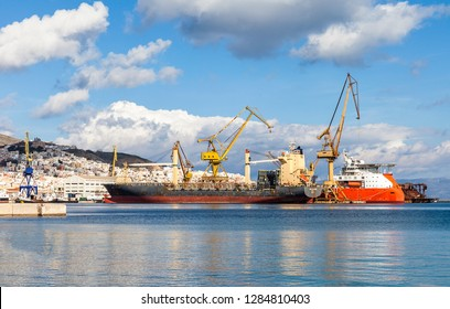 Ermoupolis: January 14th . View of ships in Ermoupolis shipyard. Syros island January 14th 2019, Greece.