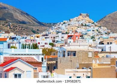 Ermoupolis at Syros island against a blue sky, Greece