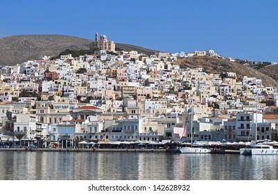 Ermoupolis town at Syros island in Greece