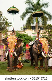 Ernakulam, India - January 24, 2016: Decorated elephants on traditional hindu festival at Siva temple in Ernakulam. Temple festivals are held in Kerala from December to March