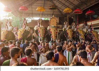 Ernakulam, India - January 24, 2020: Decorated elephants at annual temple festival in Siva temple in Ernakulam, Kerala state, India