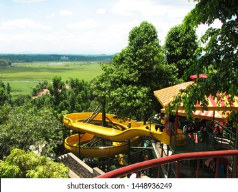 Ernakulam, Kerala, India, June 02, 2007: View of the vast green landscape from the water theme park of Veega land, re-branded as Wonderla Kochi, the famous amusement park in Kerala.
