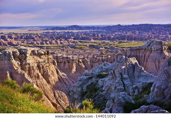 Eroded Badlands Scenery in Western South Dakota, USA. American Landscapes Photo Collection.