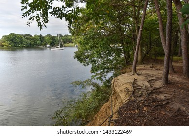 An eroded cliff exposes tree roots from wooded surroundings. A steep drop-off to the river below. A single masted sailboat is moored in the distance.  A peaceful, tranquil morning of in nature.