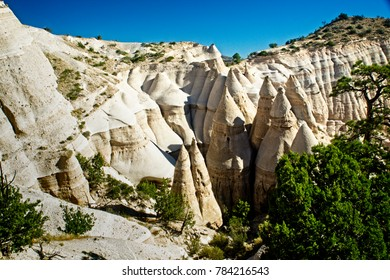 Eroded cliffs form strange rock formations at Tent Rocks National Monument in New Mexico.