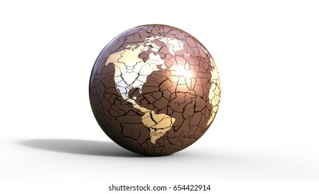 Eroded Earth Concept with cracks 3d Illustration on a white background