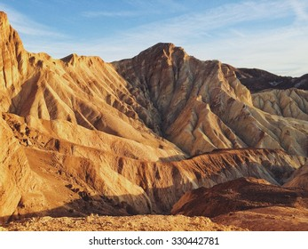 Eroded hills of Death Valley, viewed from the top of the Red Cathedral