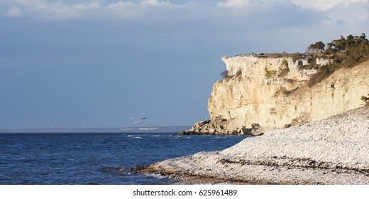 Eroded limestone coastline on the island of Gotland in Sweden springtime