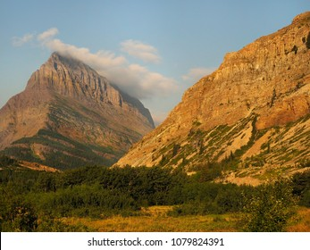 Eroded Mountains in Glacier National Park, Montana in Early Morning Light