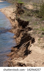 An eroded riverbank.