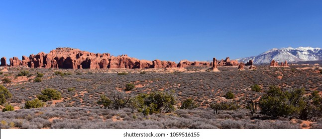 eroded rock formations in arches national park, near moab, utah