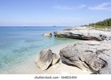 The eroded rocky beach on Grand Bahama Island.