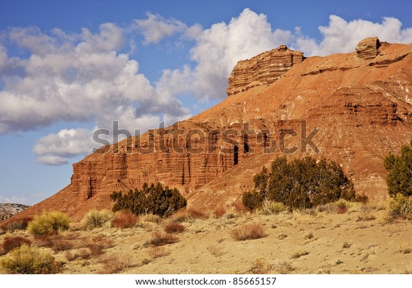 Eroded Stones of Central Utah State. Utah Raw Rocky Landscape.