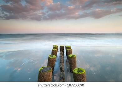 Erosion Control Structure Folly Beach Charleston South Carolina Atlantic Ocean
