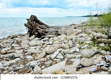 Erosion controlled shoreline with Kenosha, Wisconsin in the distance.