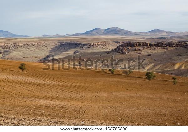 Erosion of the ground in Cappadocia, Turkey