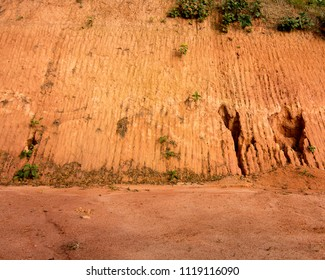 Erosion on the side of a dirt road in Petropolis, Brazil, as the result of deforestation