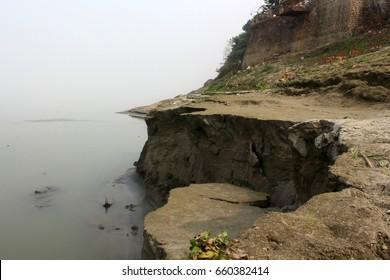 Erosion of river bank. River Brahmaputra bank erosion's from flood water.
