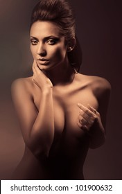 erotic brunette nude woman