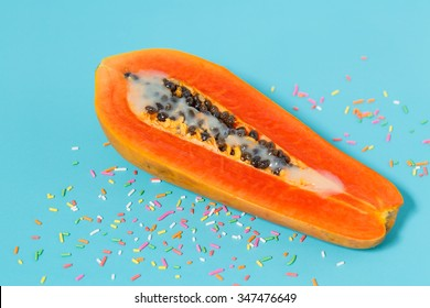 Erotic Fruit , A Half Papaya with sweetened condensed milk decorate with colourful sprinkles