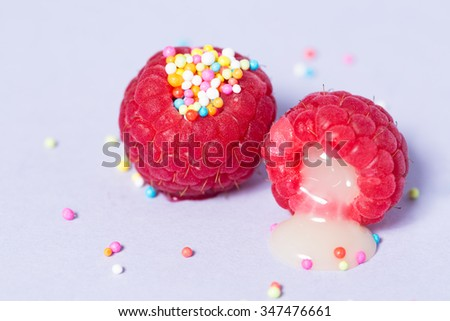 Erotic Fruit Raspberry With Sweetened Condensed Milk And Colourful Sprinkles