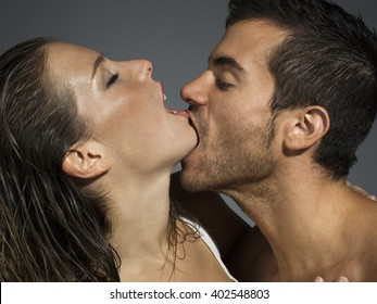 erotic scene of a couple kissing lustfully