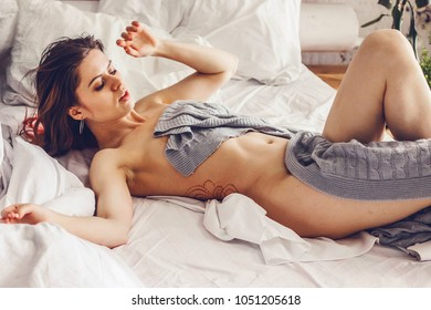 Erotic and sexy girl in the morning