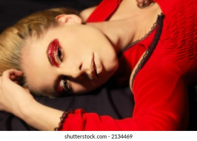 Erotic woman on black background