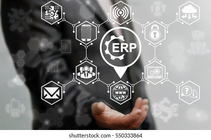 Erp business navigation computer web enterprise resource planning gear icon place concept. Location computing access internet shopping finance iot technology