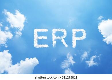 ERP cloud word on sky.
