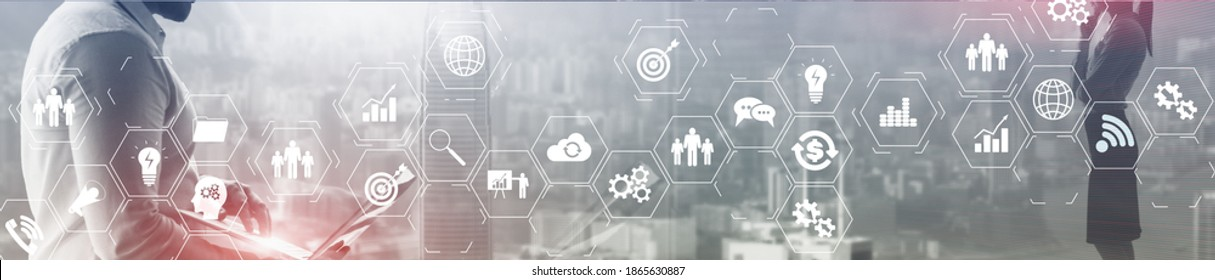 ERP Enterprise Resource Planning system on virtual screen with connections between business intelligence.