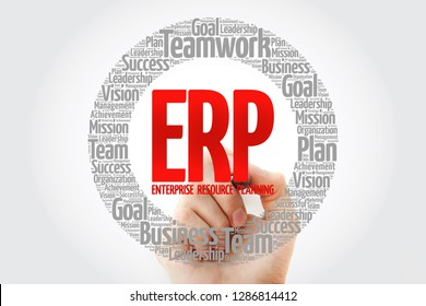 ERP - Enterprise Resource Planning word cloud with marker, business concept