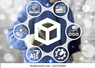 ERP - industrial enterprise resource planning concept. Worker touched 3d cube icon on virtual screen. Strategy industry 4.0 computing web technology. Strategic plan manufacturing. Manufacture develop.