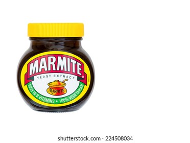 ERPEL, GERMANY 19TH OCTOBER 2014: Marmite is a nutritious savoury spread produced by Unilever in the UK, the distinctive taste is reflected in the companys advertising slogan - 'Love it or hate it'