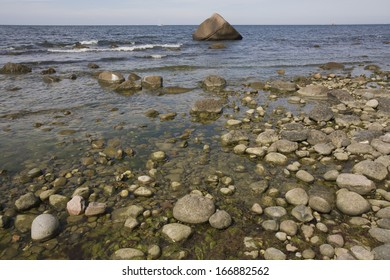 Erratic boulder, Island, Jasmund National Park, Baltic Sea, Germany