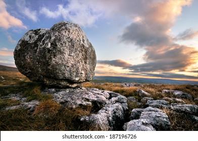 erratic boulder on limestone, Yorkshire dales