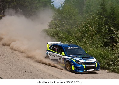 ERROL, NEW HAMPSHIRE, USA - JULY 16, 2011: Subaru Impreza WRX STI at the New England Forest Rally. David Higgins and Craig Drew placed second in the rally, and won the overall season championship.