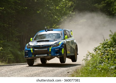 ERROL, NEW HAMPSHIRE, USA - JULY 16, 2011:Subaru Impreza WRX STI at the New England Forest Rally. David Higgins and Craig Drew placed second in the rally, and won the overall season championship.
