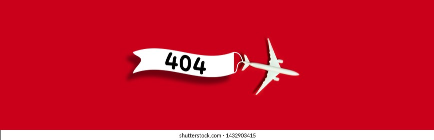 Error 404 page layout design with with a toy airplane model and a ribbon with the inscription 404