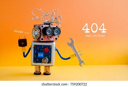 Error 404 page not found concept. Friendly crazy robot handyman with hand wrench on yellow orange background.