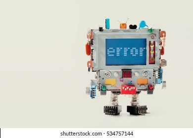 Error 404 page template for website. Retro robot with monitor computer head, colorful capacitor. Error warning message on blue screen. macro copy space photo