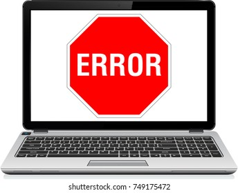 Error Icon text on laptop screen. 3D rendering. 404 error page Window operating system error warning. Illustration on white isolated background. Danger sign in a flat design on white background
