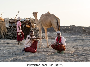 Erta Ale/Ethiopia-02/03/2019: People from afar tribe with their camel