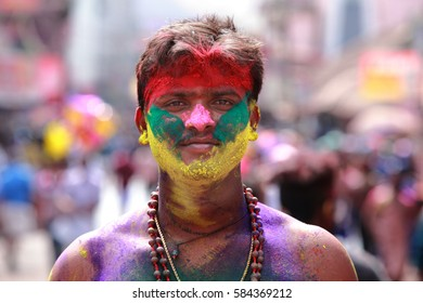 ERUMELI, INDIA - JAN 11 : An unidentified Hindu devotee with face smeared with colors looks as he participates in 'Pettah Thullal' festival held on January 11, 2017 in Erumeli,Kerala, India.